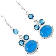 Blue smithsonite topaz quartz 925 sterling silver dangle earrings jewelry h94292