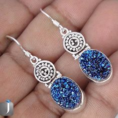 13.59cts BLUE TITANIUM DRUZY 925 STERLING SILVER DANGLE EARRINGS JEWELRY G28781
