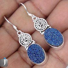 13.95cts BLUE TITANIUM DRUZY 925 STERLING SILVER DANGLE EARRINGS JEWELRY G28782