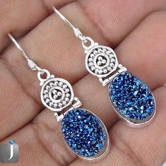 11.74cts BLUE TITANIUM DRUZY 925 STERLING SILVER DANGLE EARRINGS JEWELRY G28783