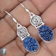 12.11cts BLUE TITANIUM DRUZY 925 STERLING SILVER DANGLE EARRINGS JEWELRY G28784