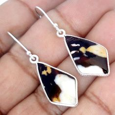 BROWN PEANUT PETRIFIED WOOD FOSSIL 925 SILVER DANGLE EARRINGS JEWELRY G84939
