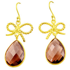 16.90cts brown smoky topaz 925 silver 14k gold chandelier earrings p49797