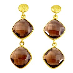 20.40cts brown smoky topaz 925 sterling silver 14k gold dangle earrings p43631