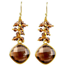 22.50cts brown smoky topaz 925 sterling silver 14k gold dangle earrings p75672