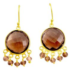 26.43cts brown smoky topaz 925 sterling silver 14k gold dangle earrings p75690