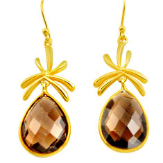 20.92cts brown smoky topaz 925 sterling silver 14k gold dangle earrings p75708
