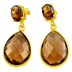 18.85cts brown smoky topaz 925 sterling silver 14k gold dangle earrings p75750