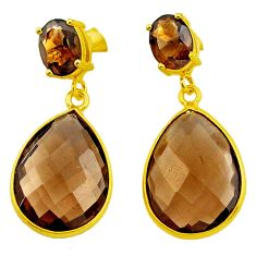 18.21cts brown smoky topaz 925 sterling silver 14k gold dangle earrings p75752