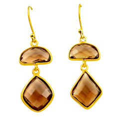 12.96cts brown smoky topaz 925 sterling silver 14k gold dangle earrings p75852