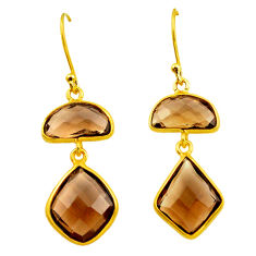12.99cts brown smoky topaz 925 sterling silver 14k gold dangle earrings p75856