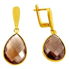 19.73cts brown smoky topaz 925 sterling silver 14k gold earrings jewelry p50114