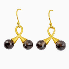 8.84cts brown smoky topaz 925 sterling silver 14k gold earrings jewelry p58523
