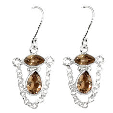 6.27cts brown smoky topaz 925 sterling silver dangle earrings jewelry p45659