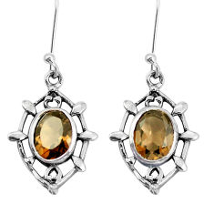6.19cts brown smoky topaz 925 sterling silver dangle earrings jewelry p58162