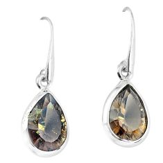 9.83cts brown smoky topaz 925 sterling silver dangle earrings jewelry p58402