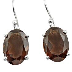 10.05cts brown smoky topaz 925 sterling silver dangle earrings jewelry p84010