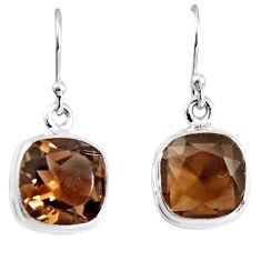 10.32cts brown smoky topaz 925 sterling silver dangle earrings jewelry p89388