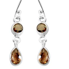 4.53cts brown smoky topaz 925 sterling silver dangle earrings jewelry p92741