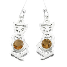 2.01cts brown smoky topaz 925 sterling silver two cats earrings jewelry p60845