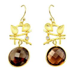 18.06cts brown smoky topaz topaz 925 silver 14k gold chandelier earrings p49791