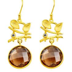 19.66cts brown smoky topaz topaz 925 silver 14k gold dangle earrings p75726