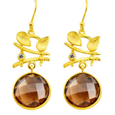 19.29cts brown smoky topaz topaz 925 silver 14k gold dangle earrings p75728