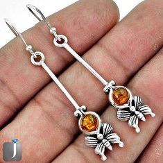 3.08CT BUTTERFLY ORANGE AUTHENTIC BALTIC AMBER 925 SILVER DANGLE EARRINGS G73482