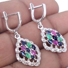 DAZZLING NATURAL BLUE SAPPHIRE EMERALD RUBY 925 STERLING SILVER EARRINGS H13344