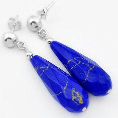 ELEGANT NATURAL BLUE LAZULI LAPIS 925 SILVER DANGLE EARRINGS JEWELRY H40231
