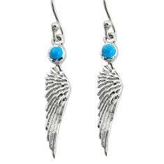 1.13cts fine blue turquoise 925 sterling silver angel wing earrings p36819