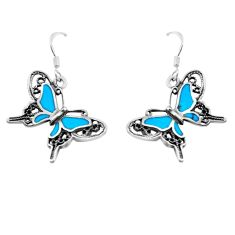 4.02gms fine blue turquoise enamel 925 sterling silver butterfly earrings c2547
