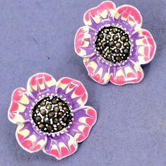 FINE MARCASITE PINK PURLE ENAMEL 925 SILVER FLOWER STUD EARRINGS JEWELRY H28641
