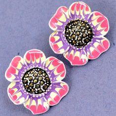 FINE MARCASITE PINK PURLE ENAMEL 925 SILVER FLOWER STUD EARRINGS JEWELRY H28643