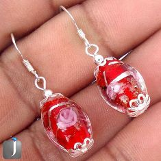 FLOWER MULTICOLOR DICHROIC GLASS 925 STERLING SILVER EARRINGS JEWELRY G78267