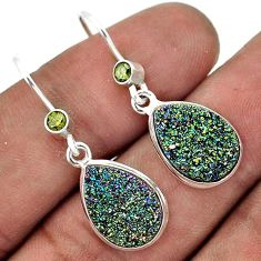 GLOWING TITANIUM DRUZY PEAR PERIDOT 925 SILVER DANGLE EARRINGS JEWELRY G82445