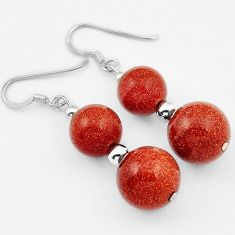 GORGEOUS NATURAL BROWN GOLDSTONE ROUND SHAPE 925 SILVER DANGLE EARRINGS H40229