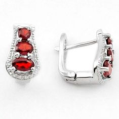 GORGEOUS NATURAL RED RHODOLITE 925 STERLING SILVER STUD EARRINGS JEWELRY H16117