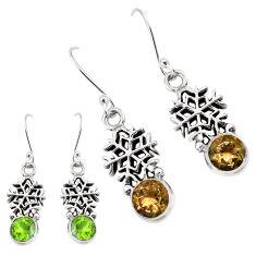 5.10cts green alexandrite (lab) 925 silver dangle snowflake earrings p43143