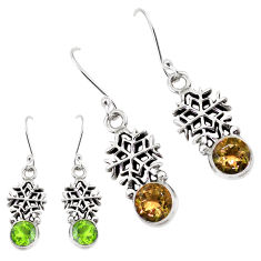5.12cts green alexandrite (lab) 925 silver dangle snowflake earrings p43162