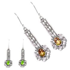 4.38cts green alexandrite (lab) 925 sterling silver dangle earrings p43153