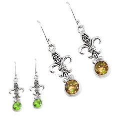 5.75cts green alexandrite (lab) 925 sterling silver dangle earrings p43170