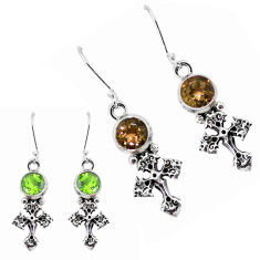 5.97cts green alexandrite (lab) 925 sterling silver holy cross earrings p58461