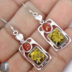 GREEN AMBER FROM COLOMBIA 925 STERLING SILVER DANGLE EARRINGS JEWELRY G38445