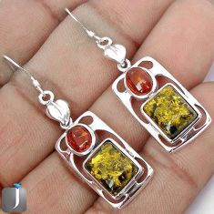 GREEN AMBER FROM COLOMBIA AMBER 925 STERLING SILVER EARRINGS JEWELRY G74291