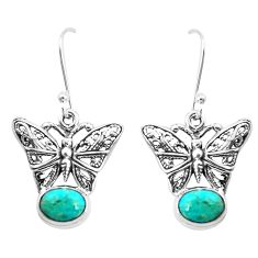 4.07cts green arizona mohave turquoise 925 silver butterfly earrings p38475