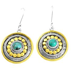 2.18cts green arizona mohave turquoise 925 silver dangle earrings p37726