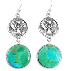 18.70cts green arizona mohave turquoise 925 silver dangle earrings p91867
