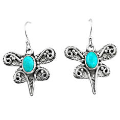 3.01cts green arizona mohave turquoise 925 silver dragonfly earrings p57576