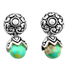5.52cts green arizona mohave turquoise 925 sterling silver earrings c4825